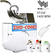 WYZworks 250W Heavy Duty Electric Shaved Ice Shaver Snow Cone Slush Margarita Machine 440lbs/h Stainless Steel and Acrylic Box Ice Scooper Included