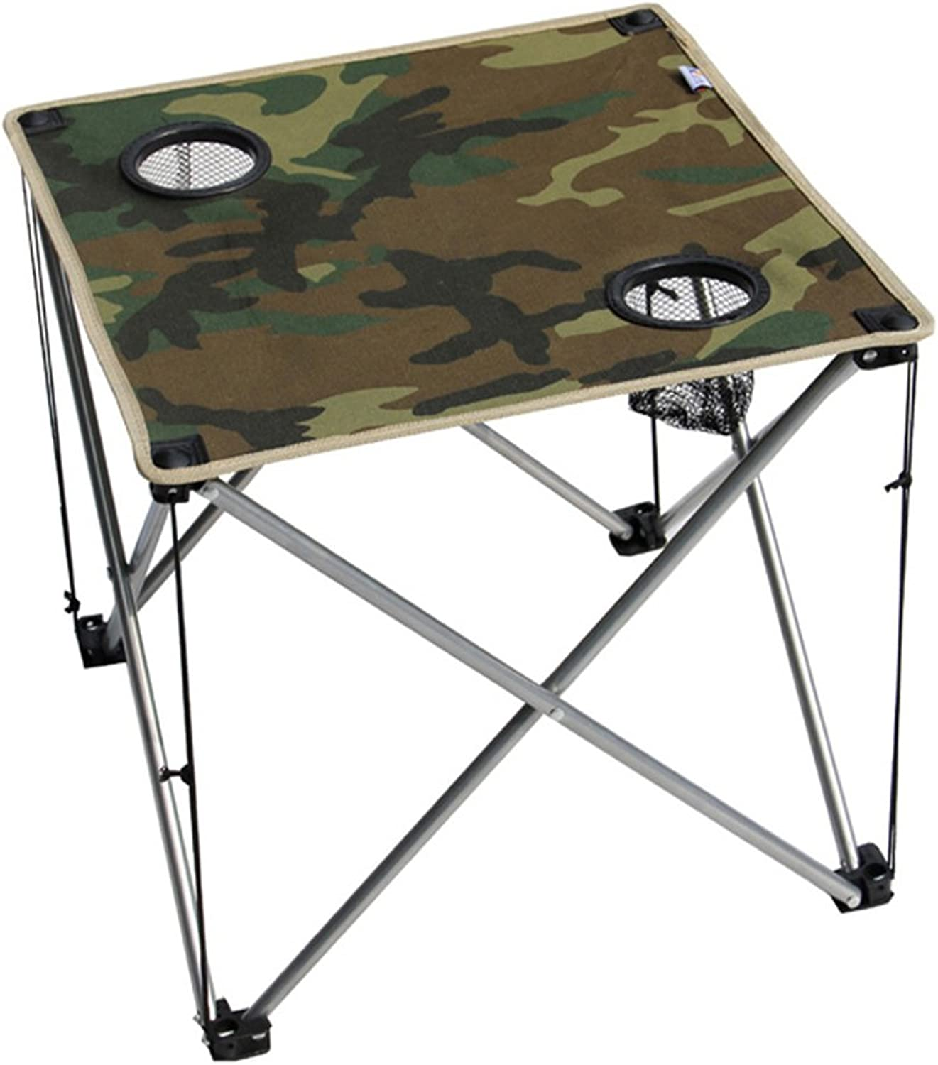 Folding Camping Table with Cup Holder, Portable Table for Fishing Hiking Gardening and Beach, Seat with Bag