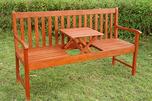 LD tuinbank, zitbank met inklapbare tafel tuin bank houten bank picknick