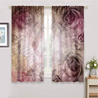 Rose Bedroom Thermal Blackout Curtains Grunge Style Vintage Inspired Rose Design on Retro Artful Elements Violin Time Music Curtain Blackout for Dining Room W85 x L108 Inch Pink Beige