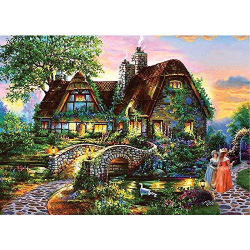 Lunriwis Puzzle de 1000 Piezas para Adultos, Casa de Campo Obra de Arte de Juego de Rompecabezas para Adultos,Adolescentes(70x50cm) (Country House)
