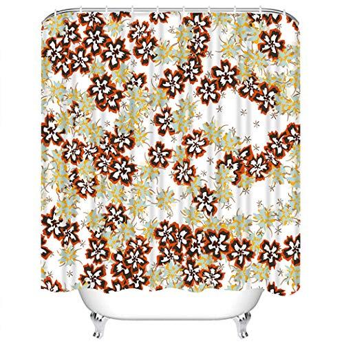 Y·JIANG Juego de cortinas de ducha con diseño floral pequeño, diseño de flores, estilo rústico, moderno, de poliéster, lavable, con 12 ganchos, no necesita forro para el baño, 152,4 x 182,8 cm