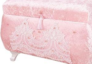 Dekonaz   2er Perlen Verzierte Mitgift Truhe   Hochzeitsgut Kasten   Aussteuer   Truhe   Hochzeitstruhe   Hochzeit   Pink  