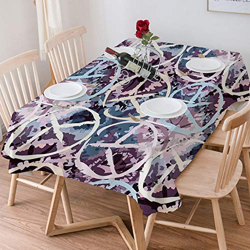 Tablecloth Rectangle Cotton Linen,Batik Decor,Digital Pacific Symbol on Batik Backdrop with Blocked O,Waterproof Stain-Resistant Tablecloths Washable Table Cover for Kitchen Dinning Party (140x200 cm)