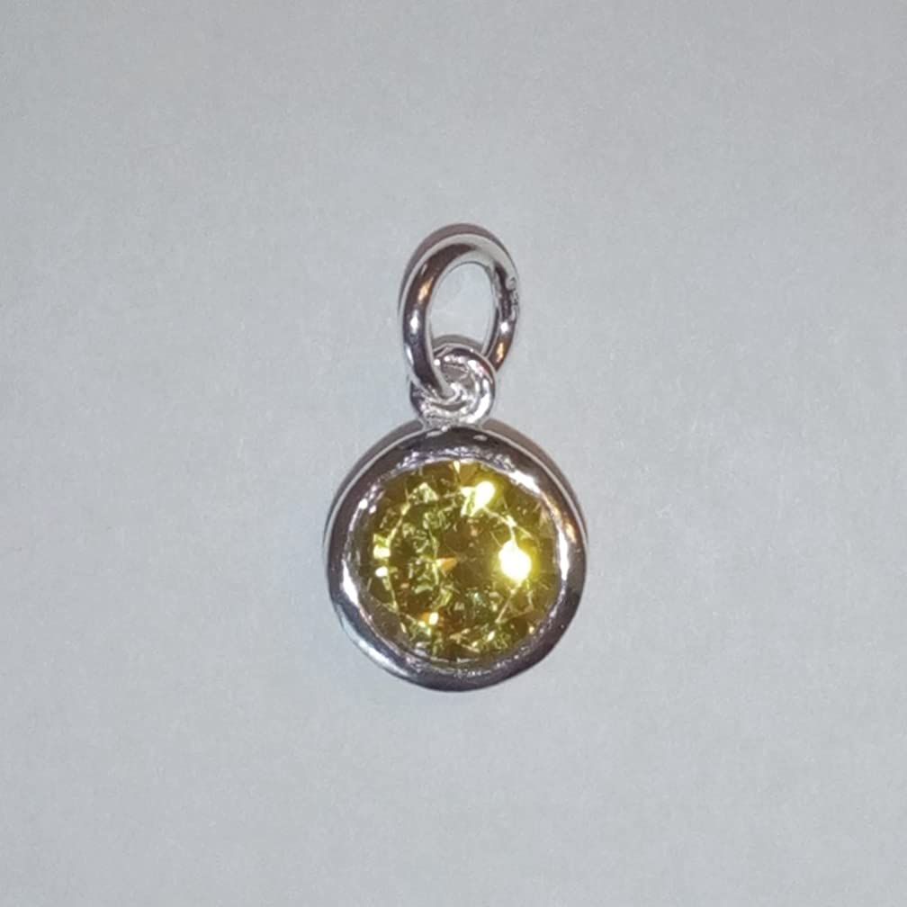 2 qty Sterling Silver CZ Citrine Color Crystal 8mm Charm Drop by JensFindings