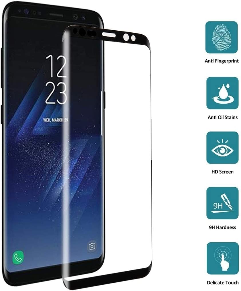 G955 0.26mm 9H Surface Hardness 3D Curved Silk-Screen Fully Adhesive Fully Adhesive Full Screen Tempered Glass Screen Protector Black MDHT TNH AYSMG 25 PCS for Galaxy S8 Plus Color : Black