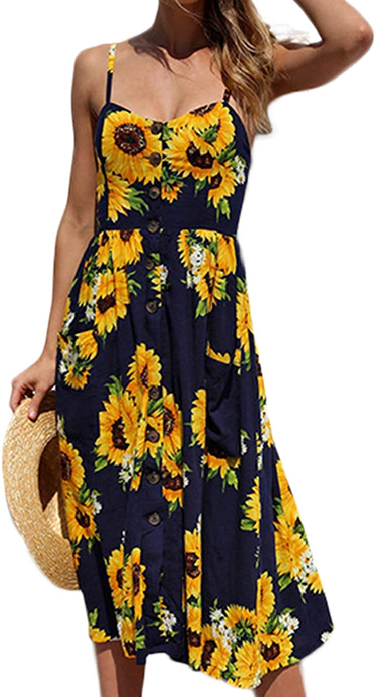 PIZOFF Women's Dresses Summer Floral Backless Spaghetti Strap Button Down Midi Dress with Pockets