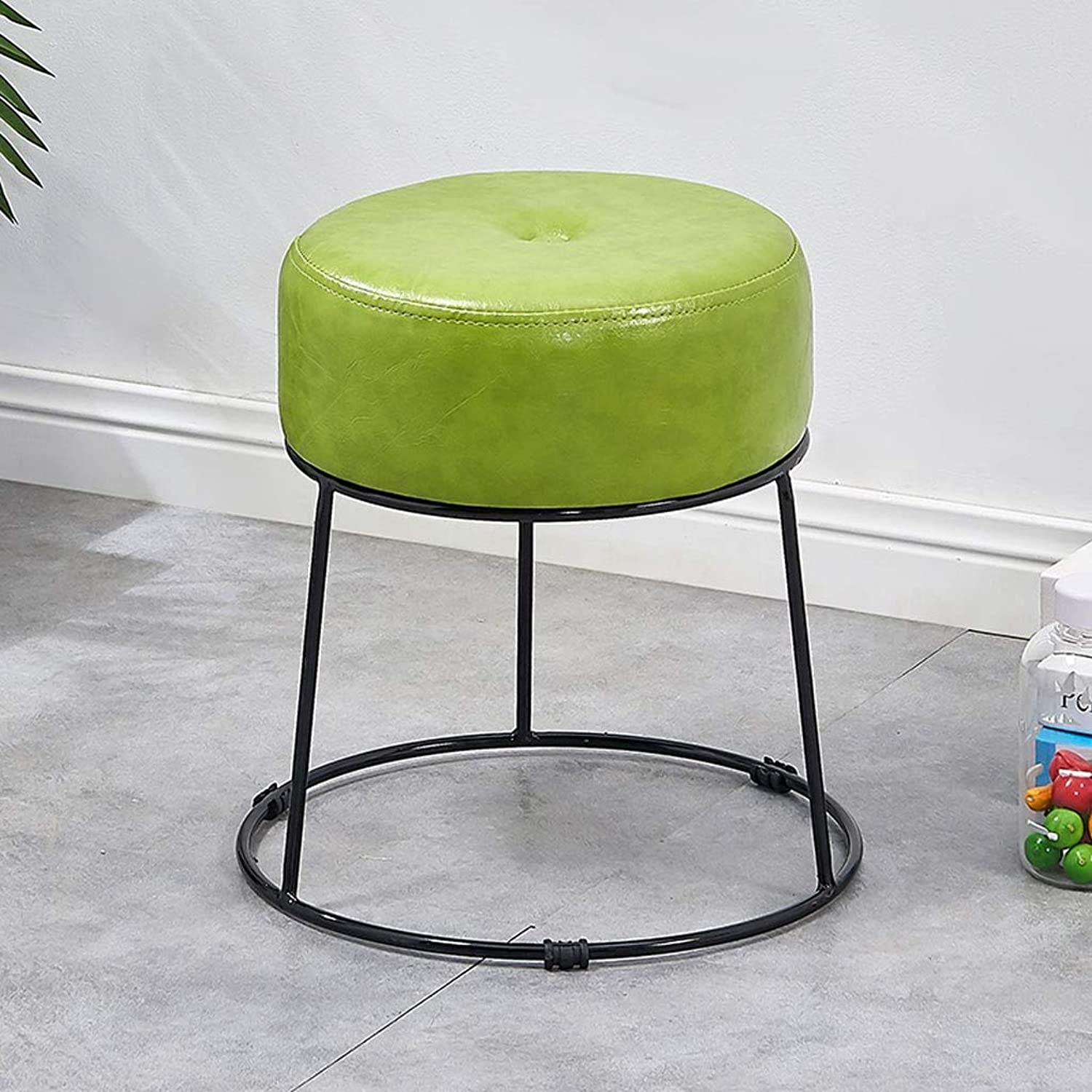 Household Metal Leather Chair,Modern Minimalist Dressing Stool,Round Four Footstool,High Rebound Sponge Filling - 29cmX38cm (color   Green)