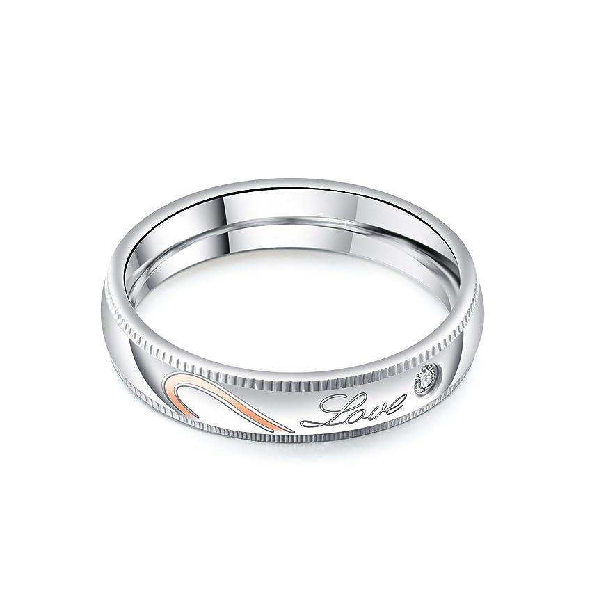 寝てるメンタリティカフェRockyu ブランド ファッションアクセサリー 指輪 メンズ チタン 結婚指輪 love ハート 刻印 シンプル ジルコニア おしゃれ