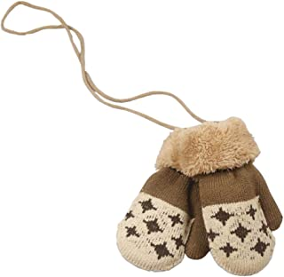 ACVIP Little Girl's Boy's Stars Knit Warm Lining Cold Weather String Mittens