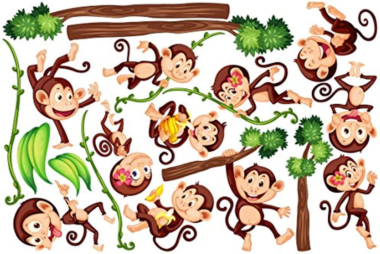 Wandtattoo Kinderzimmer Affen des Dschungels, HxB  100cm x 150cm