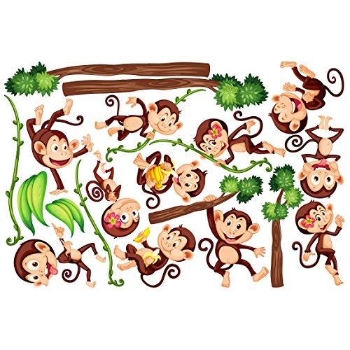Bilderwelten Fenstersticker Fensterfolie Fensterbild Affen des Dschungels HxB: 30 x 45cm