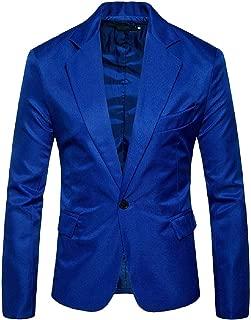 Vska Men Solid Slim Fit Lapel Button Down Long Sleeve Blazer Jacket Coat
