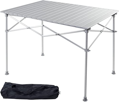 """wholesale Giantex Portable Camping Table 2021 Aluminum Folding Table Lightweight Outdoor Roll Up Picnic Table with Storage Bag wholesale (40"""" Lx 28"""" Wx 28"""" H) sale"""