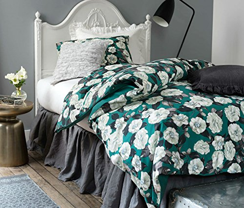 French Country Garden Old Fashion Cotton Duvet Quilt Cover 2 Piece Set Twin Single Green Grey and White Botanical Nature Floral Branches