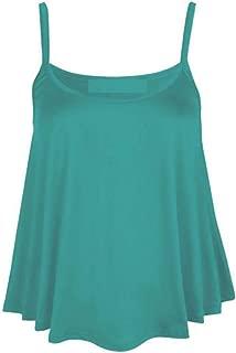 Womens Plus Size Strappy Plain Cami Vest Ladies Sleeveless Fancy Casual Wear Swing Top