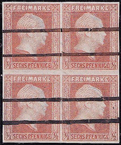 Goldhahn Preu  Nr. 1 gestempelter Viererblock Briefürken für Sammler
