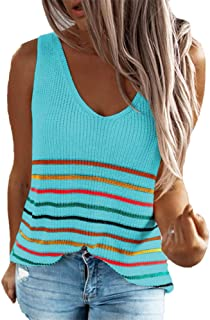 Women's Stripe Knit Tank Tops Casual Loose Sleeveless Blouse Tunic Camis V-Neck Sweater Blue 2XL