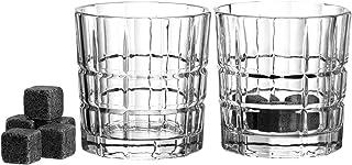 Leonardo 2-er Set Spiritii Whiskybecher  8 Kühlsteine, 360 ml, Klarglas und Granit, 057401
