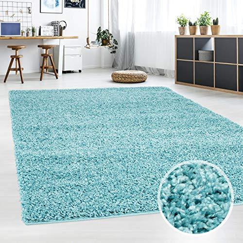 carpet city Teppich-Shaggy-, Flauschiger Hochflor Wohn-Teppich, Einfarbig/Uni in Türkis für Wohnzimmer, Schlafzimmmer, Kinderzimmer, Größe in cm:60x110 cm