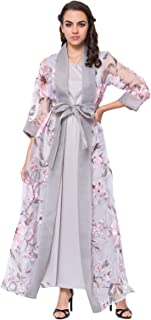 Women's Embroidered Long Robe Gowns Tunic Belt Casual Two-Piece Muslim Dress