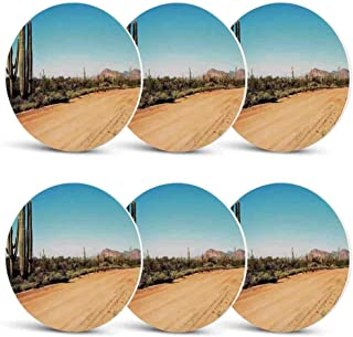 Saguaro Cactus Decor Unique Coasters,Earth Path with Giant Cactus Plants to the South American Desert Picture for Coffee Shop & BarSet of 6
