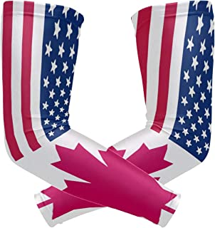 American and Canadian Flags Arm Sleeve Protectiv for Man Elbow Brace for Arthritis (1 Pair)