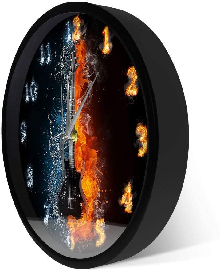 Half Water Fire Acoustic Guitar Clock Selling and selling Wall Max 55% OFF Electric