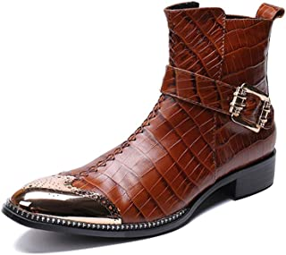 Rui Landed Men's Custom-Made Ankle Boot Casual Leather Pointed Metal Toe Belt Decoration Convenient Zipper Formal Shoes (Color : Brown, Size : 12 M US)