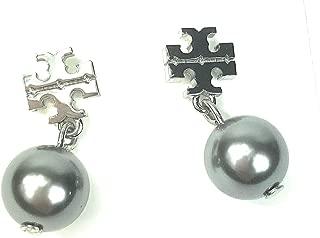 Logo Pearl Drop Earring Silvertone