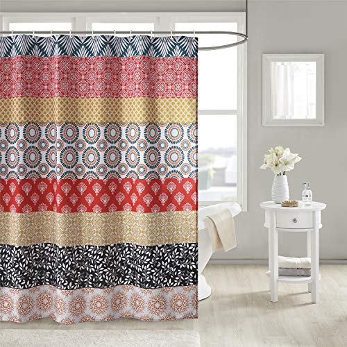 Uphome Bohemian Shower Curtain Colorful Vintage Floral Striped Fabric Shower Curtain Set with Hooks Chic Boho Bathroom Decor,Heavy Duty Waterproof, 72x78