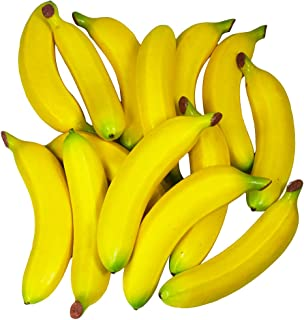Winlyn 14 Pcs Artificial Bananas Yellow Realistic Fake Fruits Decorative Bananas Lifelike Simulation for Photo Props Bowl Basket Filler Fruit Display Kitchen Cabinet Décor Still Life Painting