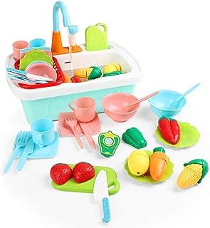 JoyGrow Kitchen Sink Toys 24PCS Pretend Play Wash Up Kitchen Toys Dishwasher Cutting Toys Kitchenware Press Water Faucet & Drain