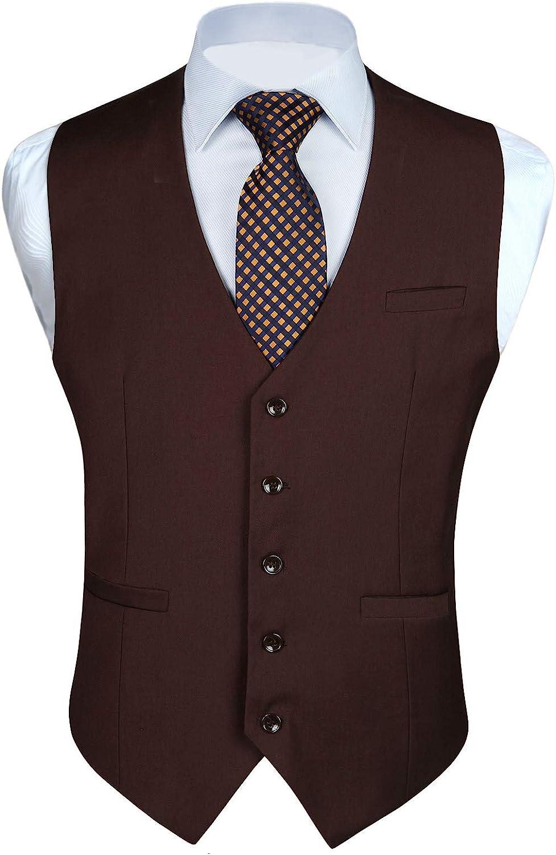 Enlision Men's Suit Vest Business Waistcoat A surprise price Long-awaited is realized Dress C Formal Solid