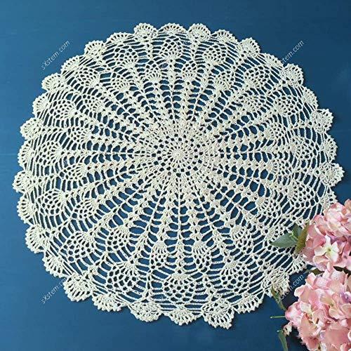 YIZUNNU - Mantel redondo de crochet de algodón con encaje, color beige,...