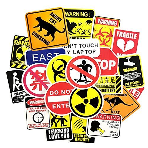Warning Signs Kid Waterproof Stickers For Skateboard Suitcase Danger Banning Reminder Children Graffiti Sticker 50 Pcs/Set