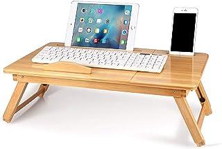 竹製ノートブックテーブル 折りたたみ式ノートパソコンデスク 寮デスク ベッドデスクサービングトレイ 朝食テーブル コーヒーティーテーブル スタンドデスク ベッドとソファ用 竹製ノートパソコンスタンド 5つの角度と引き出し付き