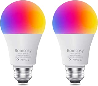 Smart Light Bulb RGBCW WiFi Led Bulb E26 A19 7W 600LM Dimmable Multicolored Lights Compatible with Alexa and Google Home No Hub Required 60W Equivalent 2 Pack