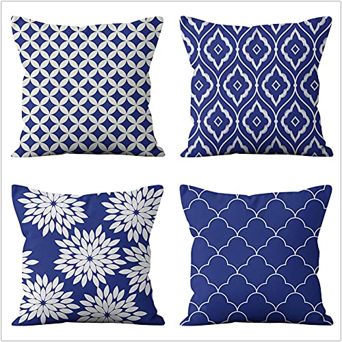 Pillow Case Cushion Cover, Geometria blu scuro 4 Pieces Pillow Case, Throw Pillow Covers, Home Decoration Pillow Case, Super Soft Sofa Cushion, for Living Room Sofa Bed Auto 40x40cm(16x16in)
