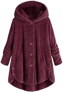 iHENGH Damen Herbst Winter Bequem Lässig Mode Jacke Frauen Mode Frauen Knopf Mantel Flauschige Schwanz Tops Mit Kapuze Lose Mantel