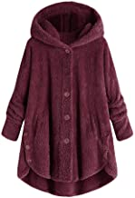 Fashion Women Sexy Button Coat Fluffy Tail Tops Hooded Pullover Loose Sweater