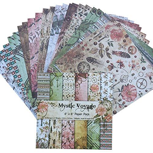HEIRAO Paquete de 24 Hojas de Bricolaje para álbum de Fotos, Paquete de Papel, Papel de un Solo Lado, Manualidades de Papel Decorativo para Scrapbooking y Manual
