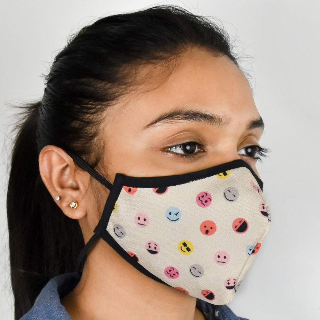 """Indigifts Pollution Mask For Adults Face Mask For Men/Women Designer Printed Anti Pollution Nose Mask for Dust Protection (Unisex, 4.5""""x5"""", 1 Piece) - Half Mouth Protection Washable Face Mask"""
