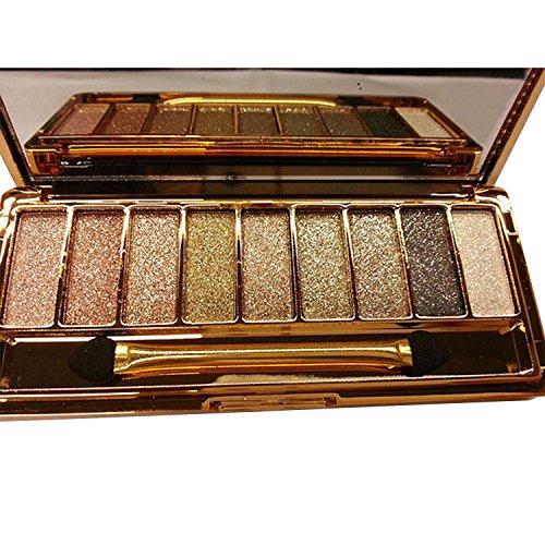 Xixini 9 couleurs chatoyantes fard à paupières-ombre à paupières et maquillage pinceau et miroir-femmes diamant cosmétique brillant coloré maquillage paillettes imperméables paupières fard à paupières