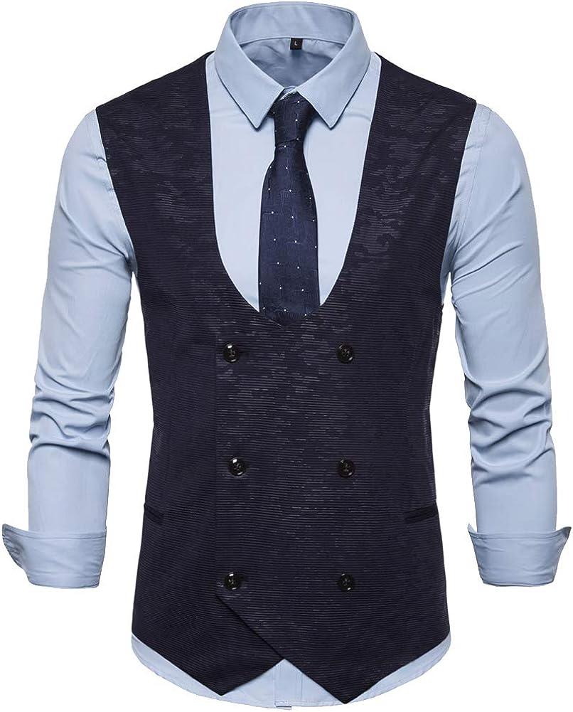 Elegeet Mens Double Breasted Suit Vest Tweed Sleeveless Plaid Waistcoat