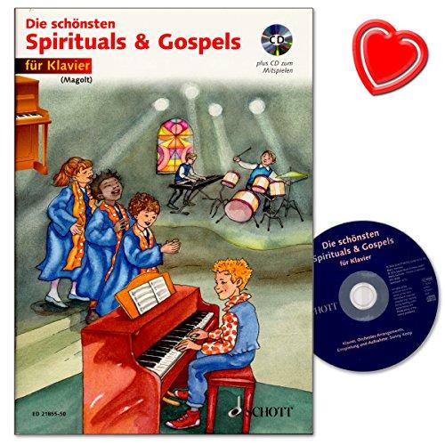 Die schönsten Spirituals and Gospels - Klavierstücke für Anfänger aus religiöse Musik der Afroamerikaner - Noten mit CD und bunter herzförmiger Notenklammer