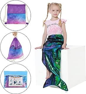MHJY Girls Sequin Mermaid Tail Blanket,Reversible Sequin Sleeping Bag Glitter Kids Wearable Blankets for Sofa Reading Living Room Bedroom Blanket