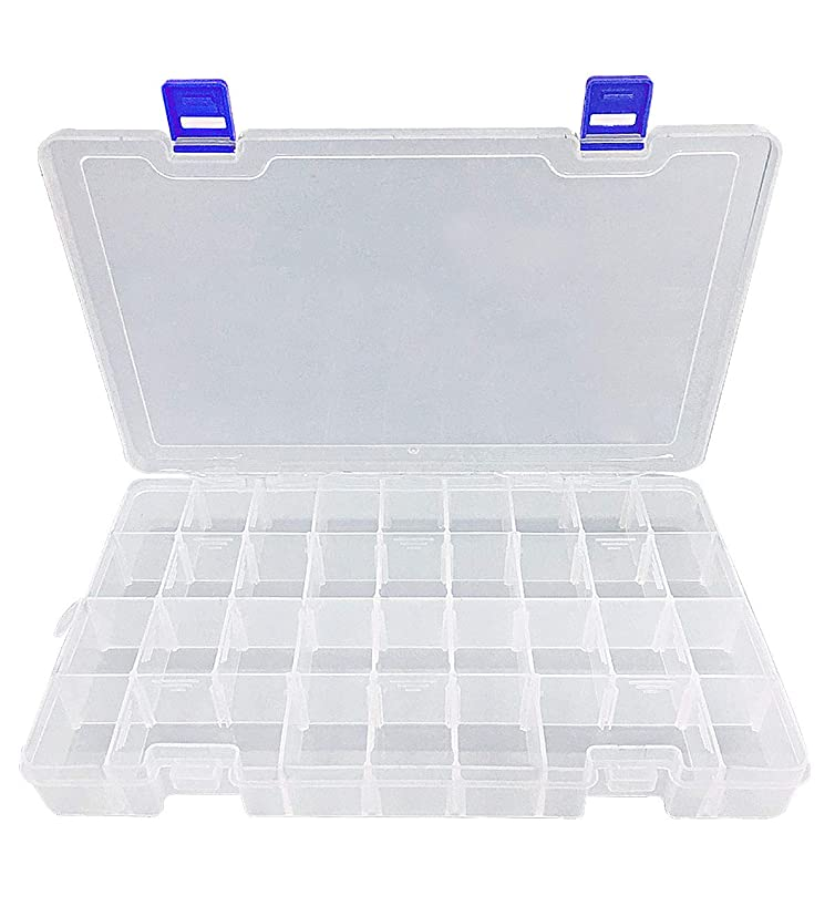 DUOFIRE Plastic Organizer Container Storage Box Adjustable Divider Removable Grid Compartment for Jewelry Beads Earring Container Tool Fishing Hook Small Accessories(34 Grids, White X 1)