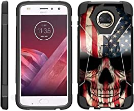 TurtleArmor   Compatible with Motorola Moto Z2 Force Case   Moto Z2 Play Case [Dynamic Shell] Hybrid Dual Layer Hard Shell Kickstand Silicone Case - US Flag Skull
