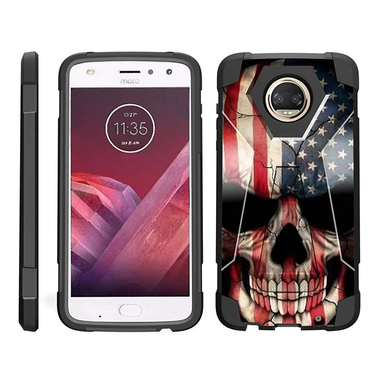 TurtleArmor | Compatible for Motorola Moto Z2 Force Case | Moto Z2 Play Case [Dynamic Shell] Hybrid Dual Layer Hard Shell Kickstand Silicone Case - US Flag Skull